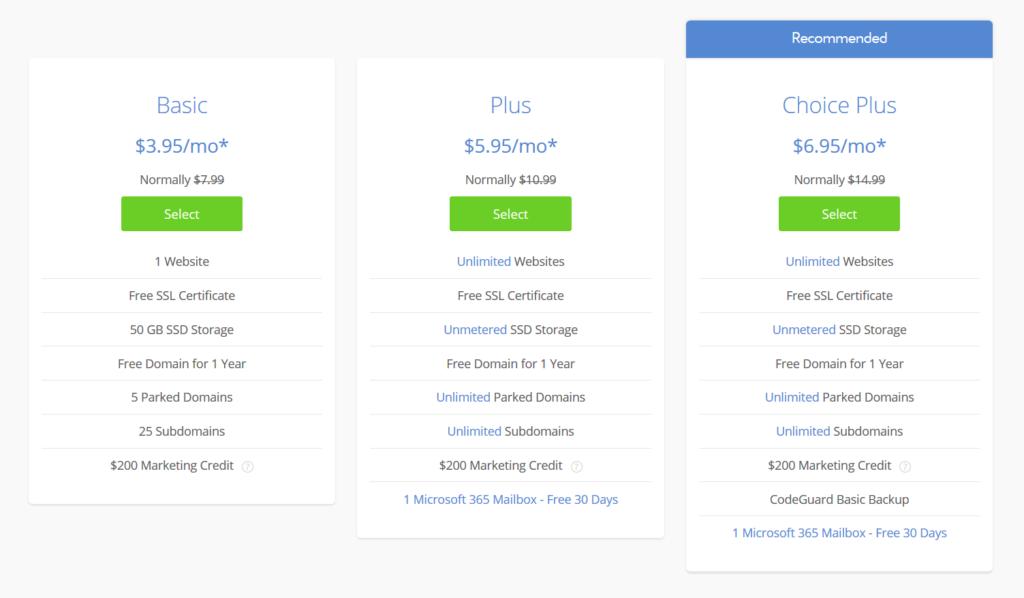 bluehost wordpress hosting plans