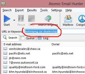 Targeted Search For Email Addresses Using Keywords: