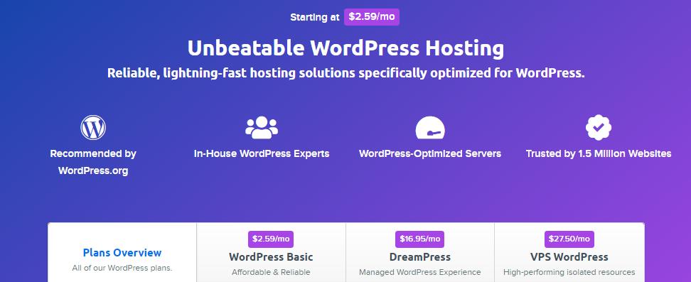 dream host recommended wordpress