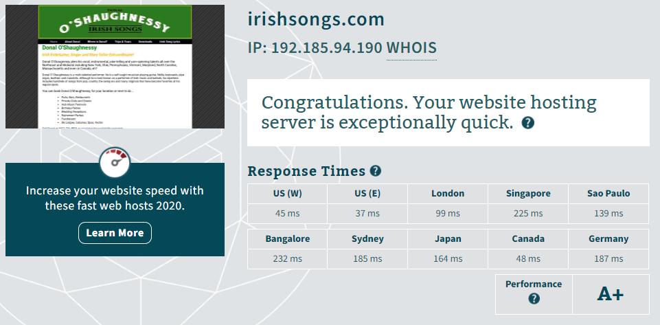 hostgator web hosting performance test
