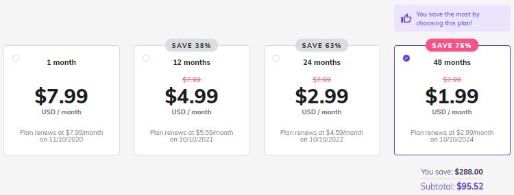 Hostinger Single WordPress Hosting plan