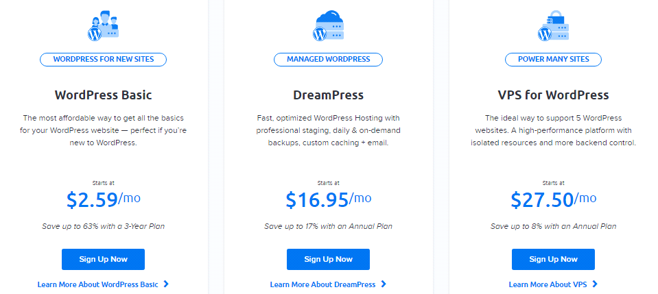 Dreamhost WordPress plan